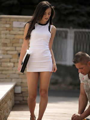 A seductive glance nets juicy babe Sabi a man to pleasure with a horny blowjob and then climb aboard for a stiffie ride