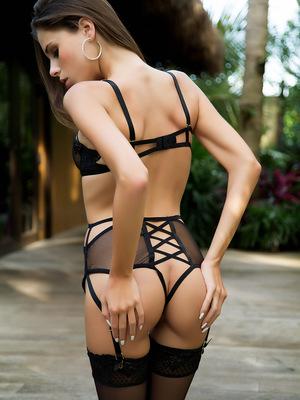 Aleksa Slusarchi outdoors enjoying the weather and taking off her black lingerie.